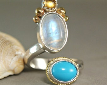 Moonstone Ring- Gold Turquoise Ring, Two Tone Ring, Geniune Turquoise Jewelry size 7.5, Sterling Silver Ring