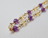Amethyst and Citrine Necklace - Gold Filled Beaded Rosary Necklace beadwork Necklace Rosary Chain Bead Necklace