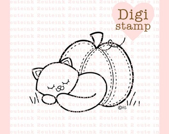 Sleepy Time Kitty Digital Stamp - Cat Stamp - Digital Cat Stamp - Fall Art - Cat Card Supply - Fall Craft Supply