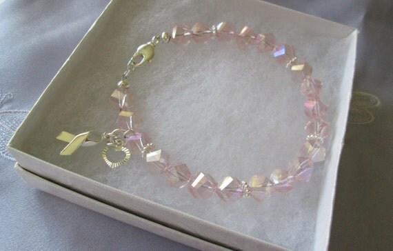 Breast cancer crystal awareness bracelets