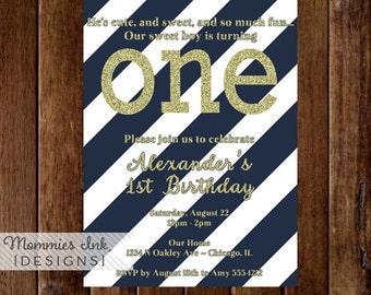 Gold Glitter First Birthday Invitation, Gold First Birthday Invite, Navy Stripes, Navy and Gold Birthday Invitation, Blue and Gold Invite