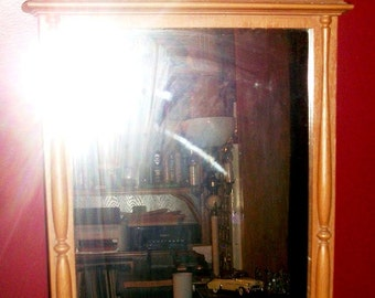 Large Faux Bois Spindle Topped Mirror