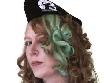 Zombie Hunter Cap - Black Military Hat - Vintage Style -  Flight Cap - Garrison Hat - Wedge Cap - Womens Hat -  Mens Cap - Unisex Hat