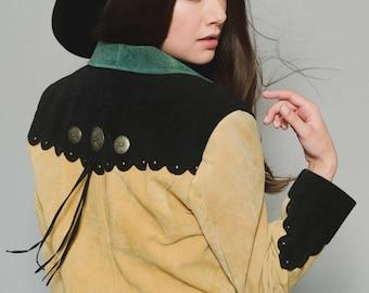 Vtg 80s Uber Badass Western Hippie Boho Cream Green Black Cowboy Detailed Fringe Jacket S/M