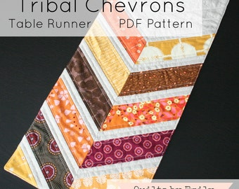 Tribal Chevrons Table Runner - Modern Quilt Pattern - INSTANT DOWNLOAD PDF file