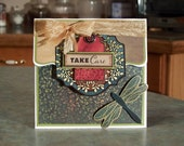 """Handmade Pull-Up Get Well Card - Wishing You a Quick Recovery - 5"""" x 5"""" - Beautiful Large Dragonfly - Magnetic Closure"""
