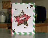 "Handmade Christmas Star Shaker Card - Merry & Bright - 5.5"" x 4.25"" - White, Green and Silver Foil Stripes"