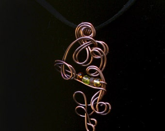 Copper Wire Wrapped Pendant Necklace, Copper Statement Jewelry Artisan One of a Kind