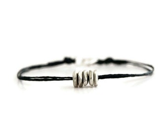 Friendship Bracelet, Silver Disks Beads Bracelet, Black Irish Linen Cord Jewelry, Simple Everyday Jewelry,  Bohemian Style
