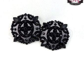 Silver & Black Flocked Taffeta Nipple Pasties  - SugarKitty Couture