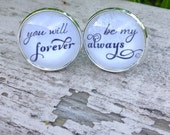 Valentines Day Gift Wedding Cuff Links, Groom cufflinks,  Always & Forever\Groom Gift Men Mens Personalized Wedding Gift For Him