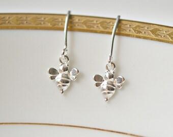 Bumble bee earrings, sterling silver, spring trends, tiny bee, insect earrings, honey bee earrings, simple, cute earrings - Daisy