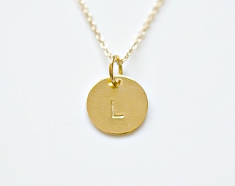 Personalized gold disk necklace, 1 - 2 - 3 - 4 tags, gold pendant necklace, simple, initial, letter, stamped, disc, gold tag - Cindy