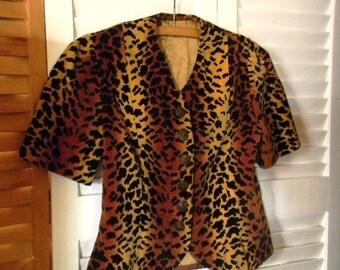 Vintage Leopard Print Top, Velvet Cheetah Print Jacket, 1970s Leopard Print Blouse, Velvet Jacket Top, Size Small Animal Print Blouse, Top