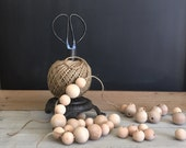 Ball of Twine on Rustic Iron Stand with Scissors Farmhouse Craft Supplies