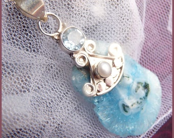 CLEARANCE - Cut slab of stalactite crystal.  Set with Aquamarine and a beautiful pearl.  3 beautiful stones.  DC 9102