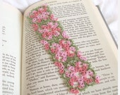 Tatted Lace Bookmark - Butterfly Bookmark - Floral Tatting - Variegated Pink Flowers , Green - Medieval Art Nouveau - Janessa Version 3