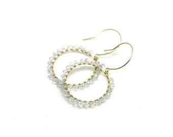 Brilliant Sky Blue Aquamarine Chandelier Earrings in Gold | Light Baby Blue Wire Wrapped Gemstones | Yasmin Earrings by Azki