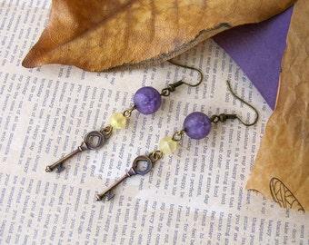 Purple and Yellow  Key Dangle Earrings  Alice in Wonderland