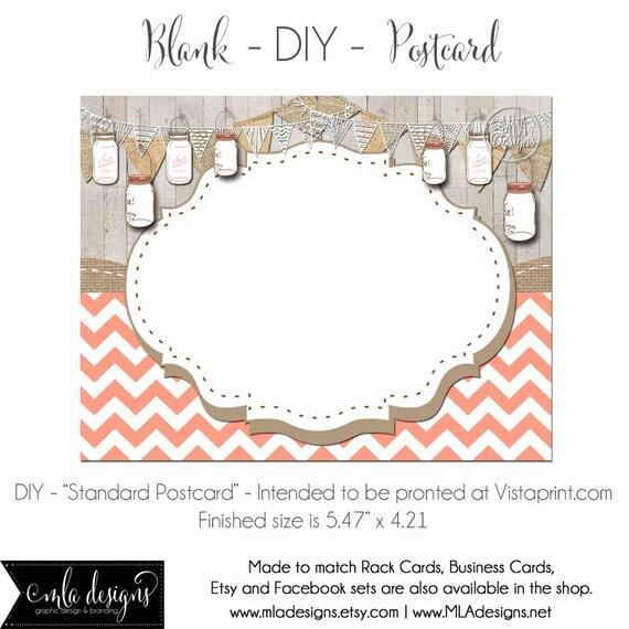 DIY Vistaprint Standard Size Postcard Peach Chevrons & Mason