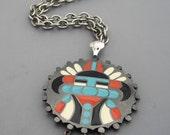 Aztec Warrior Pendant, HMS Pendant, Madeira Creations Necklace, Pre Columbian Style Necklace, Enameled Pendant, Tribal Necklace