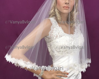 Bridal veil with blusher and rose lace edge design with beads in two layers, blusher lace veil in classic style with beaded lace edge
