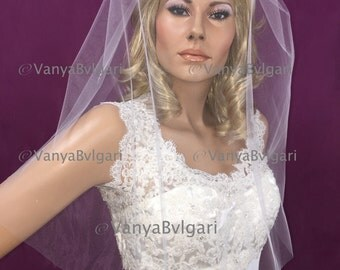 Blusher that can be used with any other style veil, bridal blusher for the first kiss, plain wedding blusher with gathered top on a comb