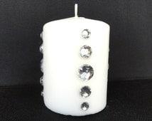 Rhinestone Bling Candle, Unscented 4 Inch White Pillar, Wedding Decoration, Home Decor