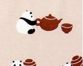 Japanese Tenugui Towel Fabric, Kawaii Panda Bear Design, Tea Canister, Hand Dyed Fabric, Animal Art Design, Cotton 100%, Wall Art, h102