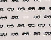 Japanese Tenugui Towel Cotton Fabric, Black & White Glasses Design, Gray Fabric, Hand Dyed Fabric, Modern Art Fabric, Home Decor, h126