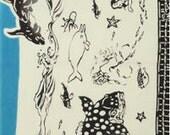 Japanese Tenugui Towel Cotton Fabric, Aquarium Design, Fish, Dolphin, Penguin, Modern Art Design, Wall Art Hanging, Wrapping, r009