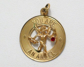 Old vintage 14k 585 gold You are an Angel cupid w/ gem bracelet disc medallion tag charm or necklace pendant fine jewelry