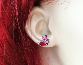 Piglet Earrings, Winnie The Pooh Piglet, Disney Piglet Earrings, Pink Pig Earrings, Piglet Jewelry, Handmade Earrings Shrink Plastic Jewelry