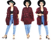 Abstract Embroidered Jacket Hippie boho Reversible Slouchy Batwing Coat Indian Cotton Ethnic Red Blue Batik Dyed Cocoon Jacket (L/XL)