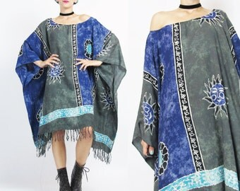 Boho Caftan Dress Hippie Sun Print Summer Kaftan Dress Floral Striped Tie Dye Beach Dress Slouchy Summer Muu Muu Boho Fringe Dress (L/XL)