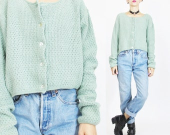 1990s Grunge Cropped Cardigan Moss Light Green Cardigan Womens 90s Cardigan Chunky Knit Sweater Crop Top Slouchy Fit Basic Solid (M)