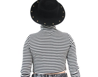 Vintage Black Wide Brim Hat Studded Black Wool Hat Gold Studded Hat 1980s Vintage Felt Hat Club Kid Vtg Womens Bowler Hat Flat Brimmed Hat