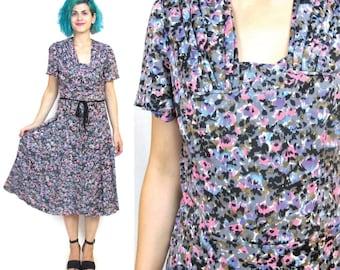50% OFF SALE Vintage 1940s Dress 40s Floral Jersey Dress Short Sleeve Dress Swing Dress Retro Day Dress Summer Watercolor Print (M/L)
