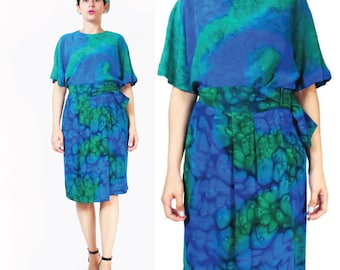 25% OFF SALE 80s Watercolor Silk Dress Two Piece Dress Blouse and Skirt Matching Outfit Draped High Waist Wrap Skirt Short Sleeve Top (S/M)