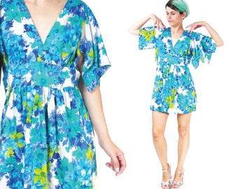 30% OFF SALE 1970s Flutter Sleeve Dress Blue Floral Print Dress Angel Butterfly Sleeve Mini Dress Hippie Tie Back Empire Waist (S/M) E402
