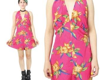 25% OFF SALE Floral Silk Romper Fuschia Pink Romper Halter Neck Playsuit Onesie Boho Festival Outfit Tropical Print Summer Backless (L/Xl)