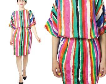 80s Rainbow Striped Silk  Dress Short Sleeve Silk Dress Elastic Waist Rainbow Striped Dress Party Bright Colorful Mini Dress Pockets (S/M)