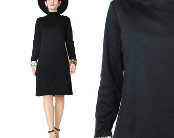 80s Black Long Sleeve Dress Leopard Print Faux Fur Cuffs Black Winter Dress 1960s Style Mod Dress Mock Neck Black Turtleneck Dress (M/L)