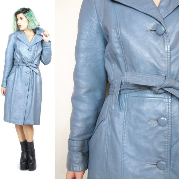 50% OFF SALE 70s Dusty Blue Leather Jacket Leather Trench Coat Belted Spy Jacket Long Leather Coat  (XS/S)