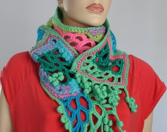 Chic, Boho, Hippie, Gypsy Freeform Crochet Scarf  - Multicolor Rainbow Scarf - Lace Scarf - Art Scarf