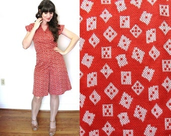 1970s Romper / 70s Red Novelty Print Dice Gaucho Pants Dress Jumper