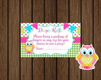 Owl Baby Shower Diaper Raffle Ticket, Baby Shower Diaper Raffle, Instant Download