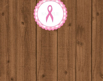 Pink Breast Cancer Favor Tag, Breast Cancer Ribbon, Pink Ribbon Tag, Instant Download