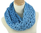 Turquoise Scarf, Valentine's Day, Knit Infinity Scarf, Circle Scarf, Knit Cowl, Gift Idea For Her, Fashion Accessory, Blue Scarf, Fiber Art