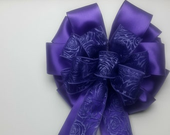Wedding Pew Bows Sheer Purple Rose Wired Ribbon over Violet Satin Wired Ribbon Hand Tied